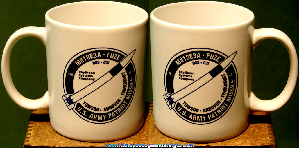 Old United States Army Raytheon Patriot Missile Advertising Ceramic Coffee Cup