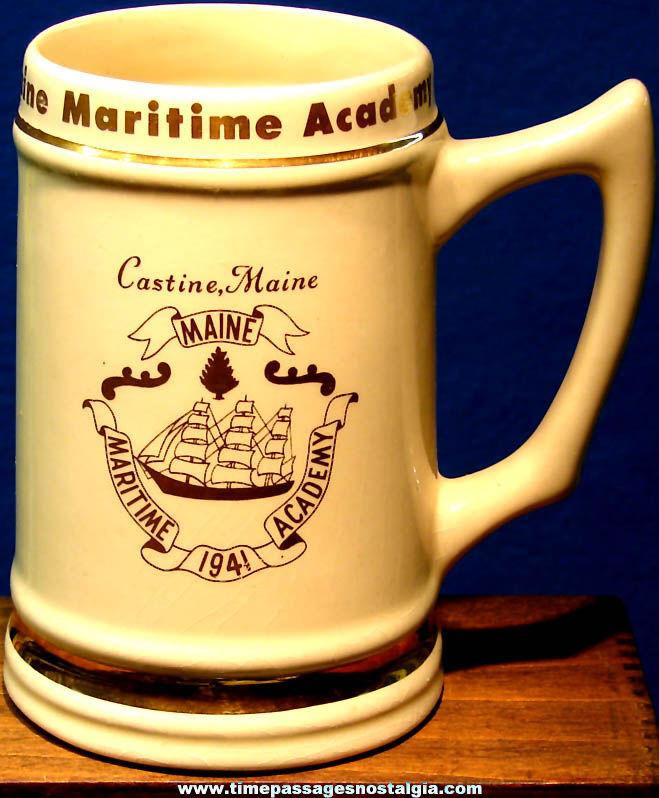 Large Old Maine Maritime Academy Advertising Souvenir Ceramic Drink Mug