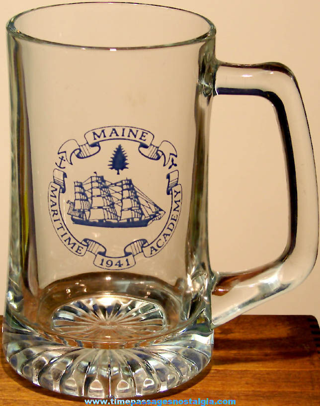 Large Old Maine Maritime Academy Advertising Souvenir Glass Drink Mug