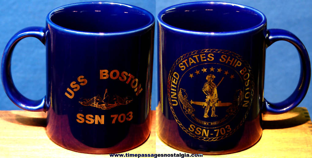 United States Navy U.S.S. Boston SSN-703 Submarine Advertising Ceramic Coffee Cup
