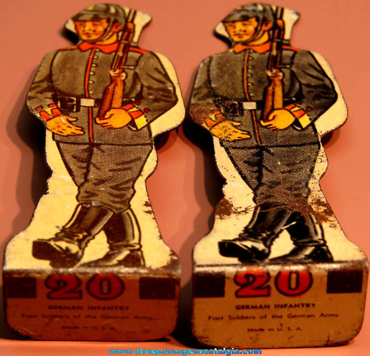 (2) Old German Army Infantry Soldier Lithographed Metal Toy Target Figures
