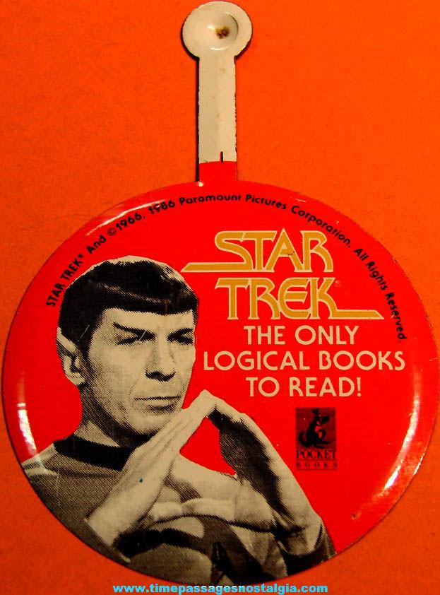 ©1986 Star Trek Paramount Pictures Corporation Books Advertising Spock Tin Tab Button
