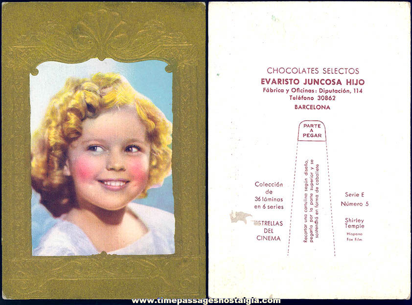 Colorful 1930s Shirley Temple Child Movie Actress Chocolate Candies Advertising Premium Trading Card