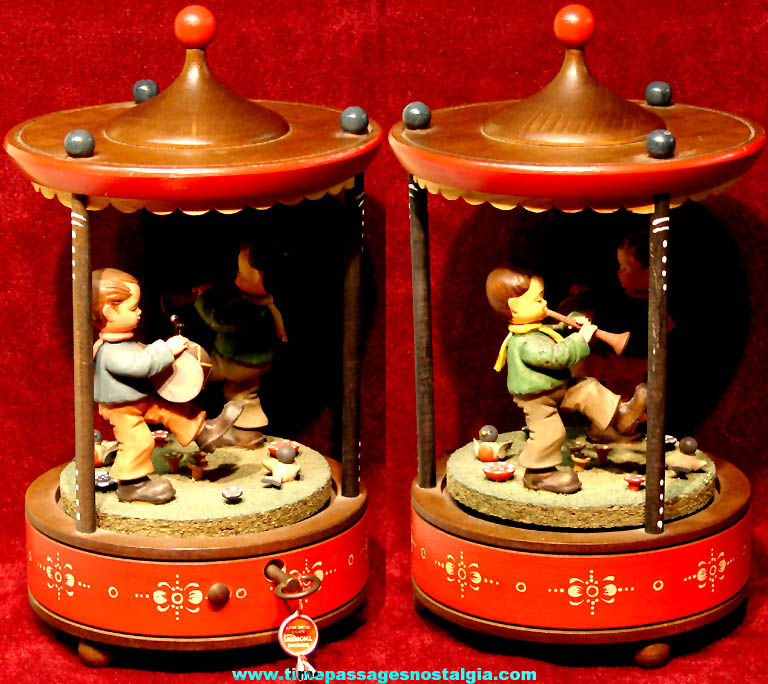 Colorful Old Wooden Anri Thorens Wind Up Mechanical Musical Musician Carousel Figurine