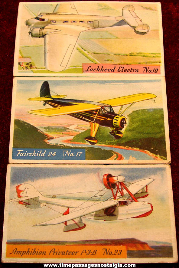 (3) Different 1930s H. J. Heinz Cereal Advertising Premium Famous Airplane Pictures Non Sports Trading Cards