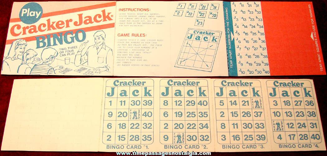 Old Unused Cracker Jack Pop Corn Confection Advertising Premium Bingo Game