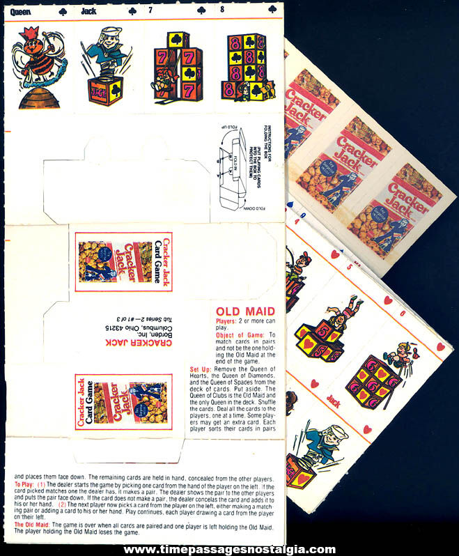 Old Unused Cracker Jack Pop Corn Confection Advertising Miniature Old Maid & Pig Tub Prize Card Games