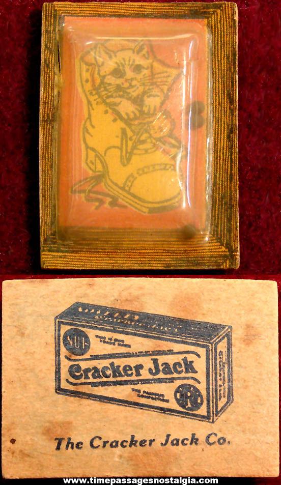 1920s Cracker Jack Pop Corn Confection Advertising Celluloid & Paper Prize Dexterity Puzzle