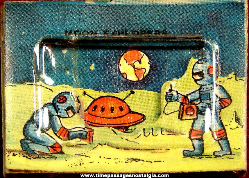 Colorful 1960s Cracker Jack Pop Corn Confection Astronauts & Spaceship 3D Picture Toy Prize
