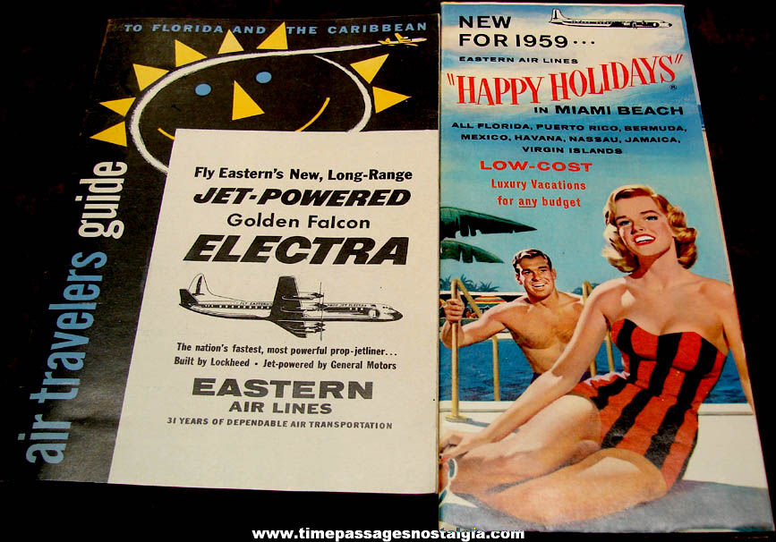 (2) Different 1959 Eastern Airlines Advertising Travel Brochure Booklets