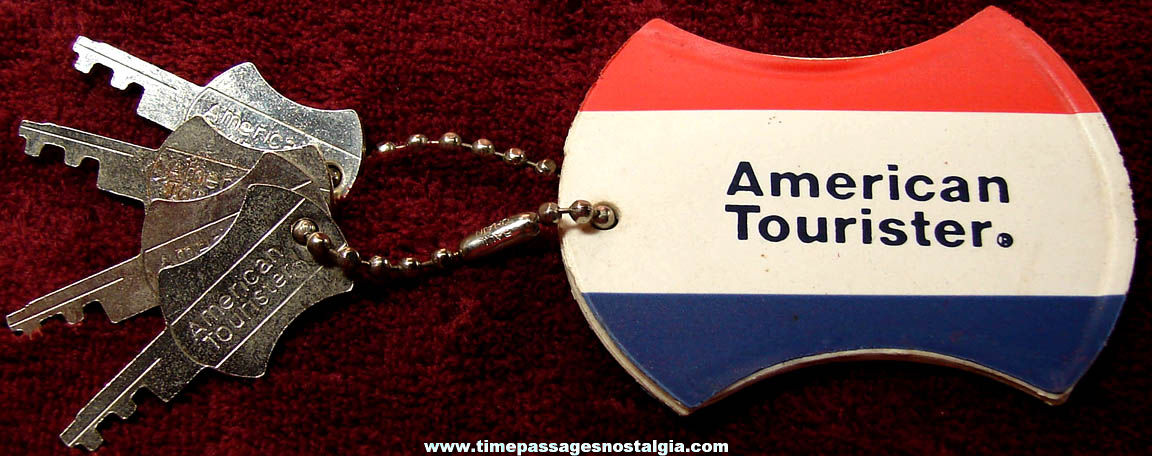 Old American Tourister Luggage Identification Key Chain Tag with (4) Matching Keys