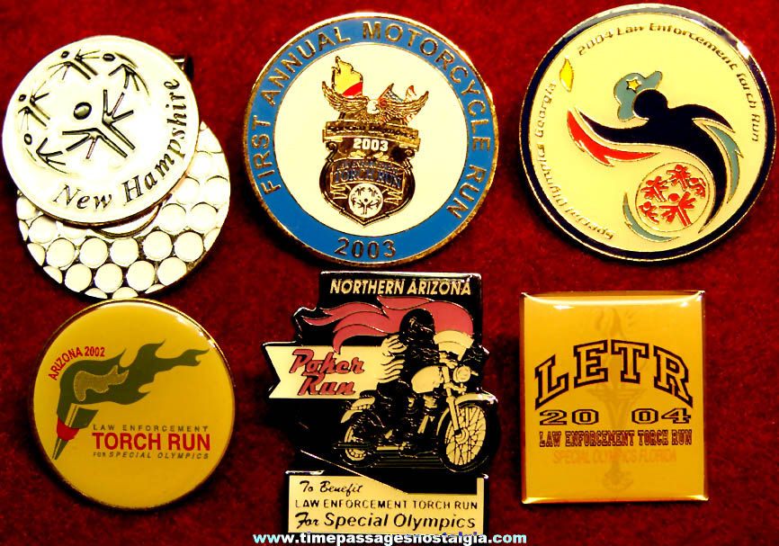 (6) Different Motorcycle Related Special Olympics Charity Event Advertising Souvenir Pins