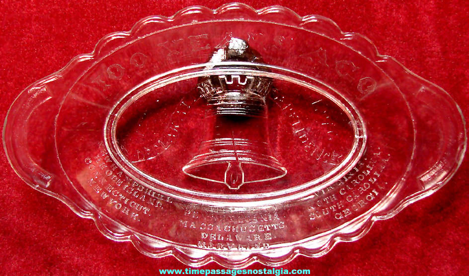1776 - 1876 United States Centennial Advertising Souvenir Glass Serving Bowl