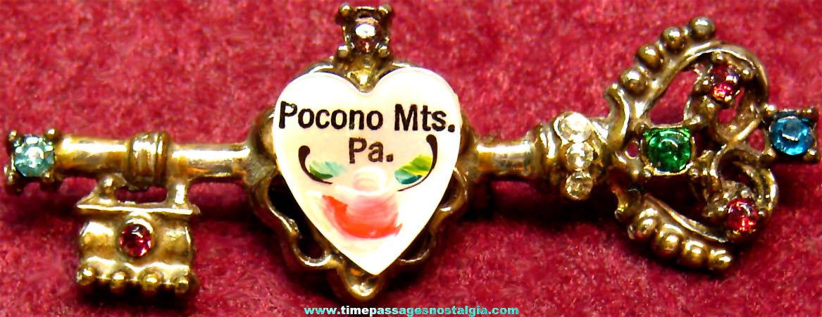 Old Pocono Mountains Pennsylvania Advertising Souvenir Jewelry Pin with Stones