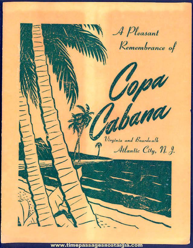 Old Copa Cabana Atlantic City New Jersey Advertising Souvenir Photograph Folder