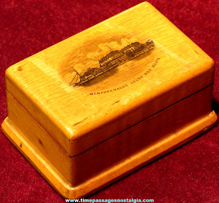Old Memphremagog House & Boats Newport Vermont Advertising Souvenir Wooden Postage Stamp Box