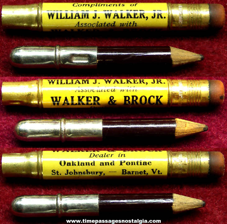 Old Vermont Oakland & Pontiac Automobile Dealer Advertising Premium Bullet Pencil