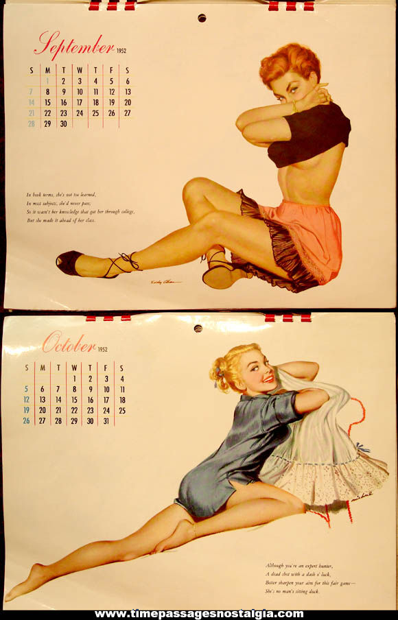 Colorful 1952 Esquire Advertising Risque Pretty Lady Pin Up Model Calendar