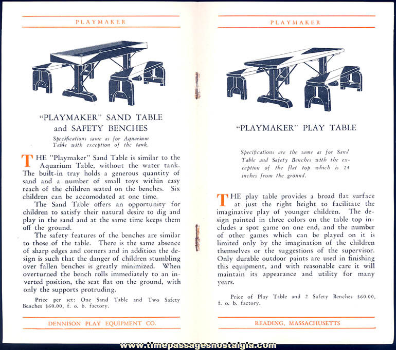 1930 Dennison Play Equipment Company Sales Letter Advertising Brochure & Envelope