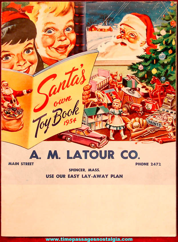 Colorful 1954 A. M. Latour Company Santa's Own Toy Book Christmas Catalog