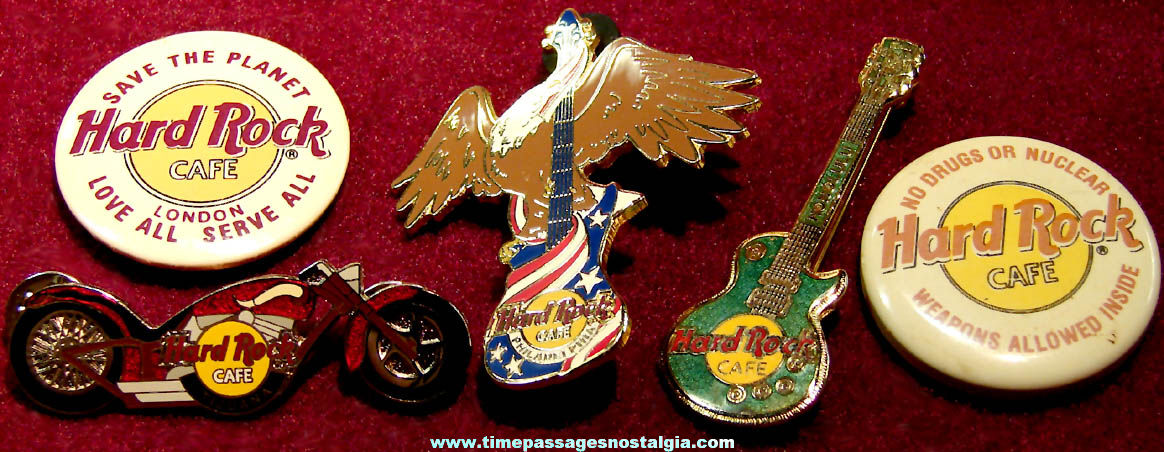 (5) Different Hard Rock Cafe Advertising Souvenir Pins