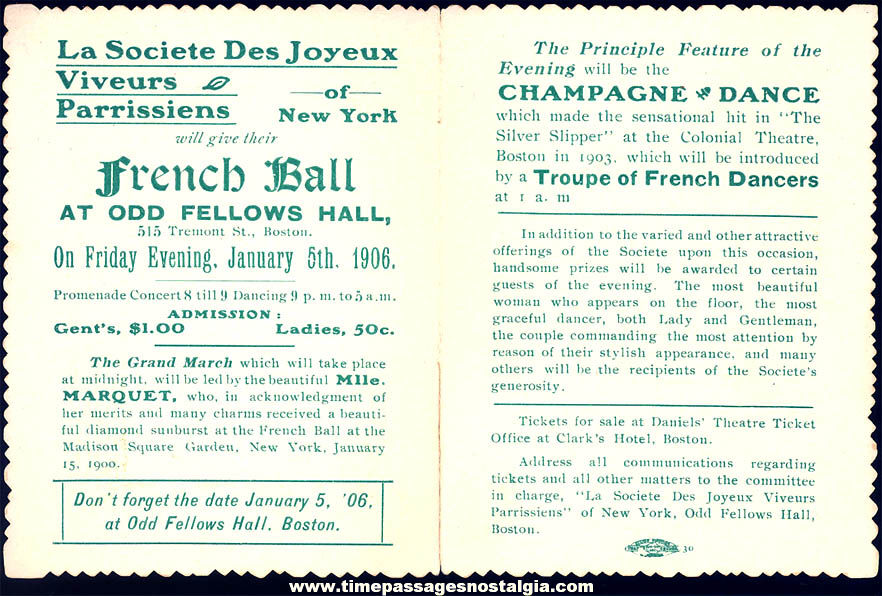 Colorful 1906 French Ball Odd Fellows Hall Boston Massachusetts Invitation Card
