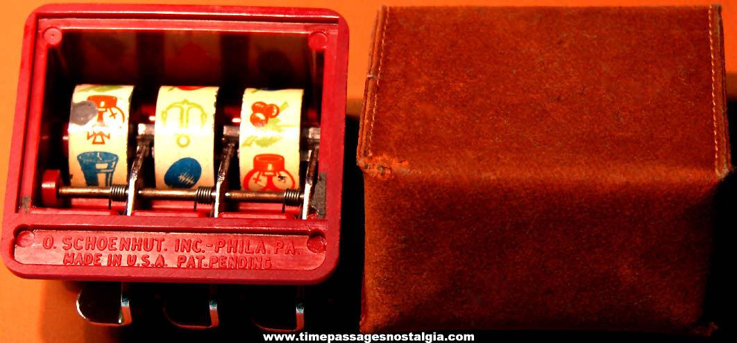 Old Schoenhut Brodi Mechanical Gambling Slot Machine Type Game Part With Case