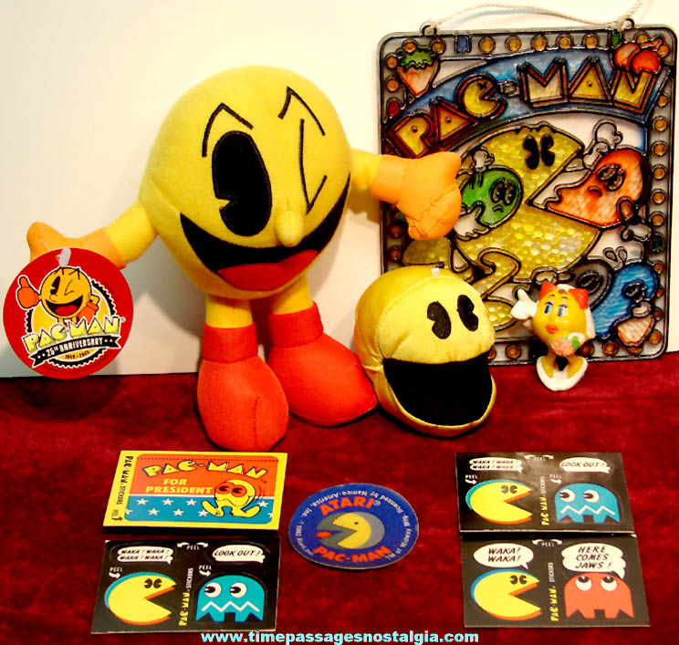 (9) Small Old Colorful Pac Man Video Game Character Items