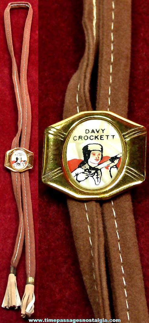 Old Unused Davy Crockett Western Pioneer Hero Character Bolo Neck Tie