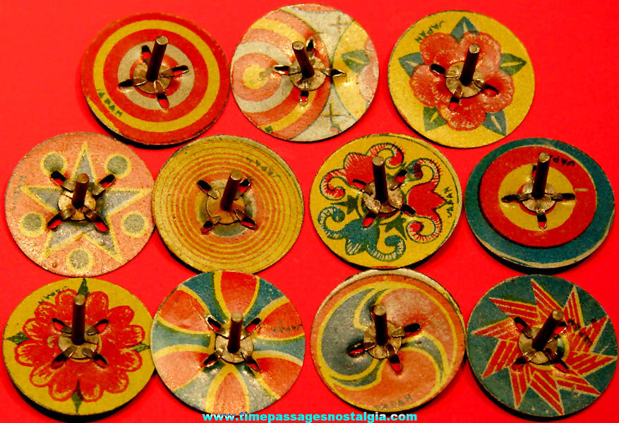 (11) Different 1930s Cracker Jack Pop Corn Confection Miniature Lithographed Tin Metal Toy Prize Spinner Tops
