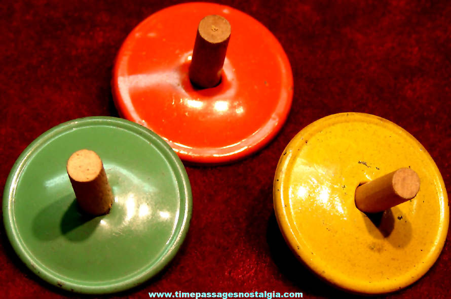 (3) Different Color 1930s Cracker Jack Pop Corn Confection Miniature Tin Metal Toy Prize Spinner Tops
