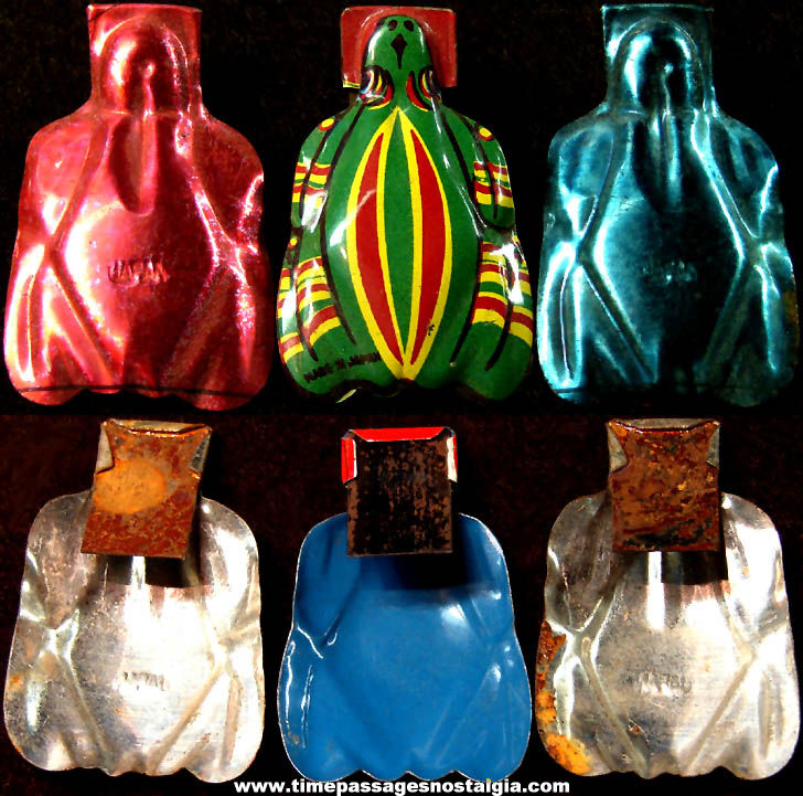 (3) Small Old Cracker Jack Pop Corn Confection Embossed & Lithographed Tin Metal Toy Prize Frog Clicker Noisemakers