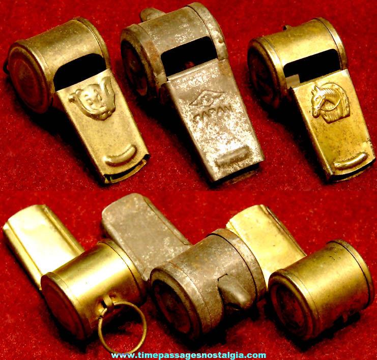 (3) 1930s Cracker Jack Pop Corn Confection Embossed Tin Metal Toy Prize Whistles