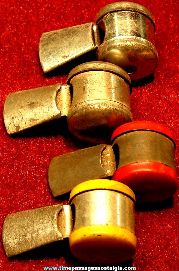 (4) 1930s Cracker Jack Pop Corn Confection Tin Metal Toy Prize Whistles