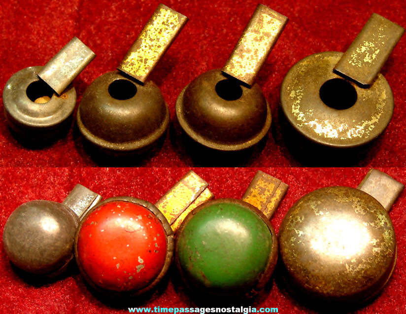 (4) Different Small Old Cracker Jack Pop Corn Confection Tin Metal Toy Prize Whistles