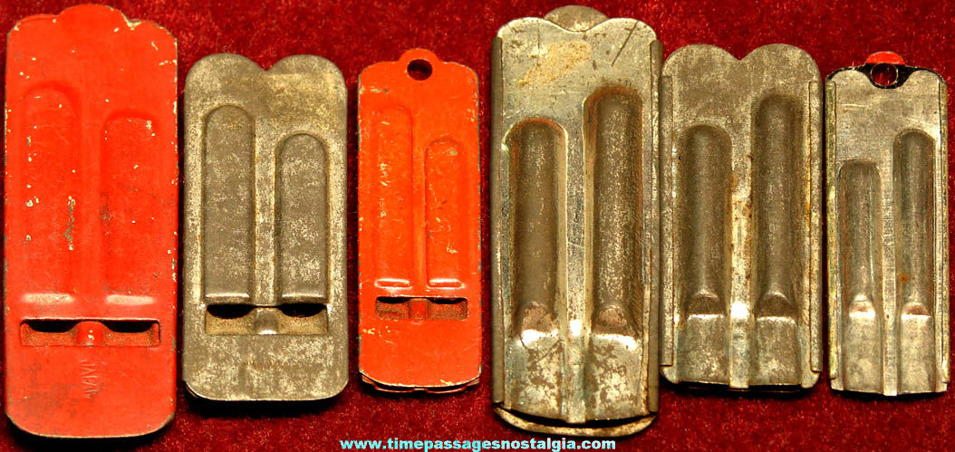 (3) Different Small Old Cracker Jack Pop Corn Confection Tin Metal Toy Prize Two Tone Whistles