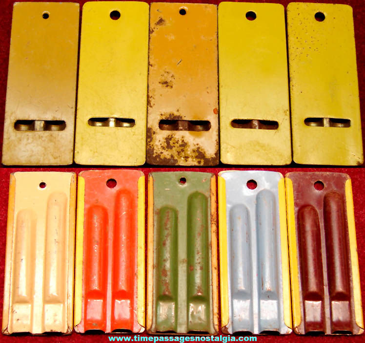 (5) Different Color 1930s Cracker Jack Pop Corn Confection Tin Metal Toy Prize Two Tone Whistles