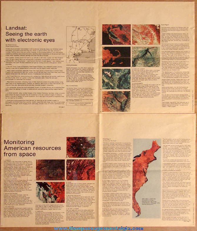 1976 Boston Sunday Globe Supplement Space Portraits USA Pictures & Article