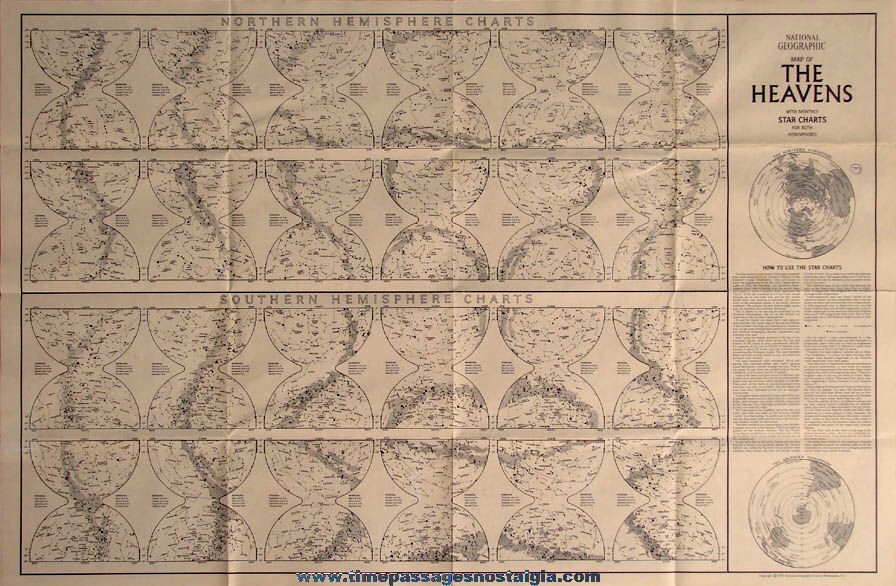 Detailed Unused Two Sided ©1970 National Geographic Society Map of The Heavens with Star Charts