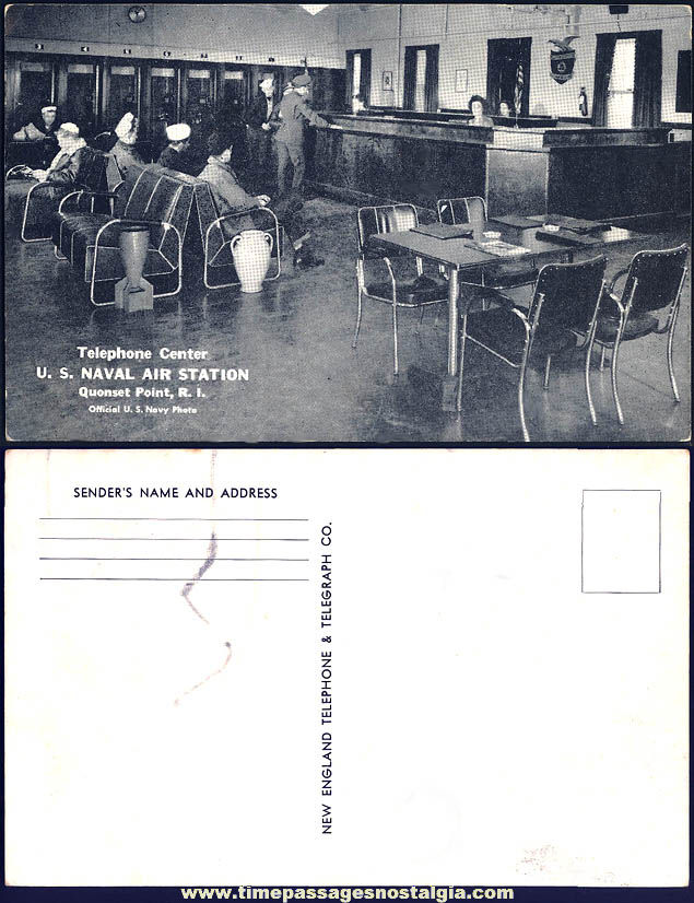 Old Unused Quonset Point Rhode Island United States Naval Air Station Telephone Center Post Card