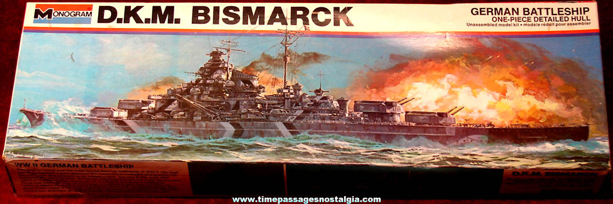 Boxed ©1977 German Navy Battleship D.K.M. Bismarck Monogram Model Kit