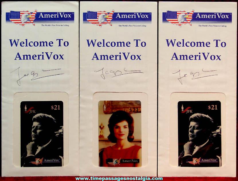 (3) Unopened Unused & Signed ©1994 John F. Kennedy & Jacqueline Kennedy Onassis Phone Cards