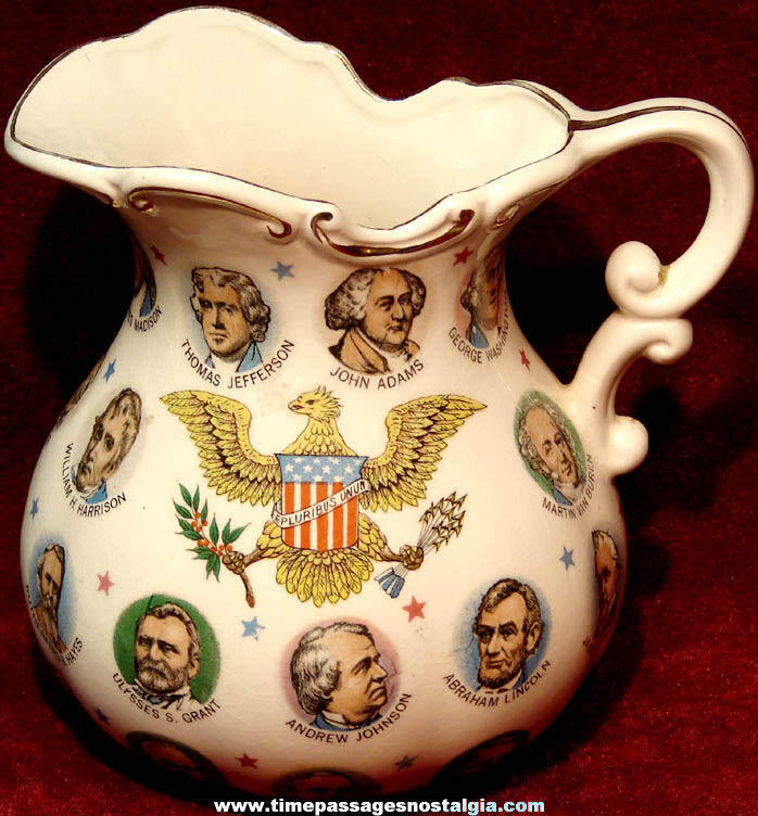 Colorful ©1965 Porcelain United States President Pitcher
