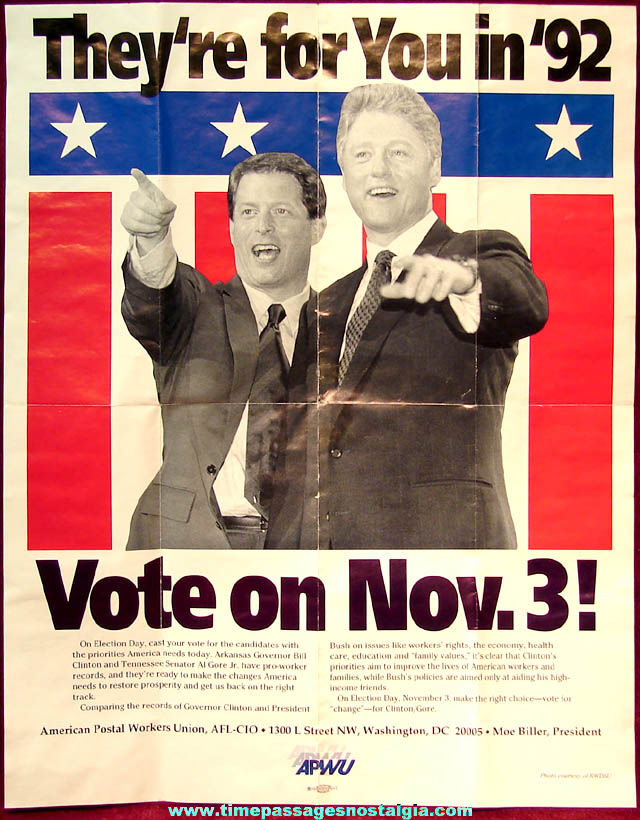 1992 American Postal Workers Union Bill Clinton & Al Gore United States Political Presidential Campaign Poster