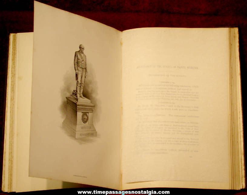 ©1895 John Stark & Daniel Webster New Hampshire Statues National Statuary Hall Presentation Book