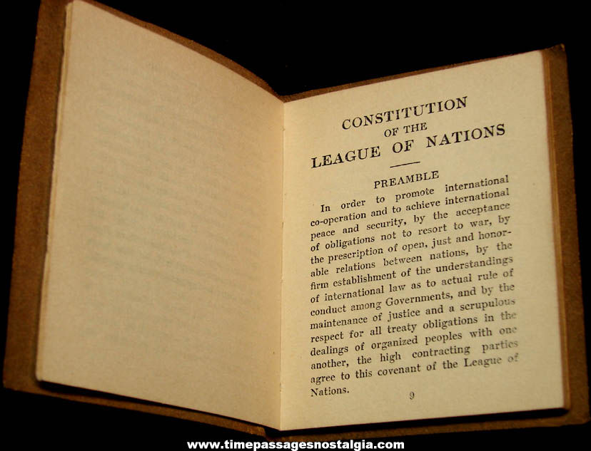 1920 Constitution of The League of Nations Miniature Library Book