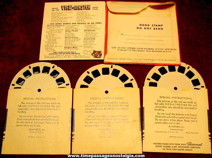 ©1955 Sawyer's United Nations Three Dimensional View Master Reel Packet
