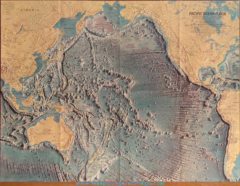 ©1969 National Geographic Society Two Sided Pacific Ocean Floor Map