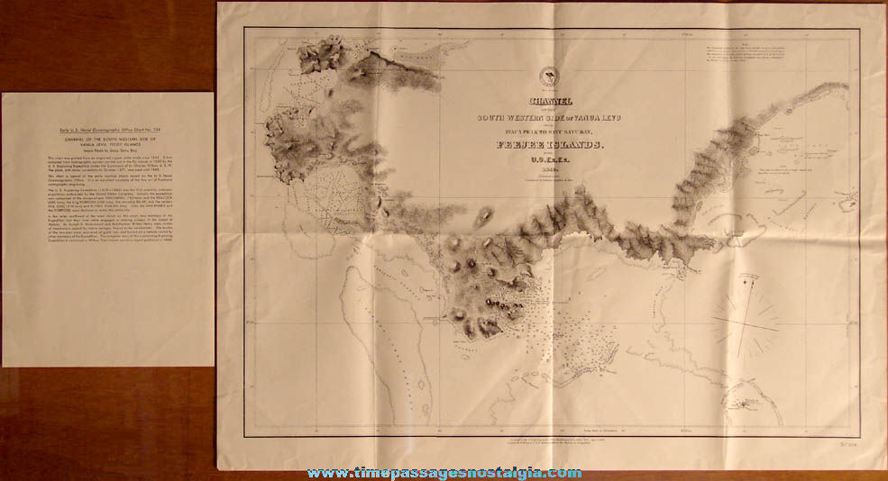 Old United States Navy Hydrographic Office FeeJee Islands Nautical Map