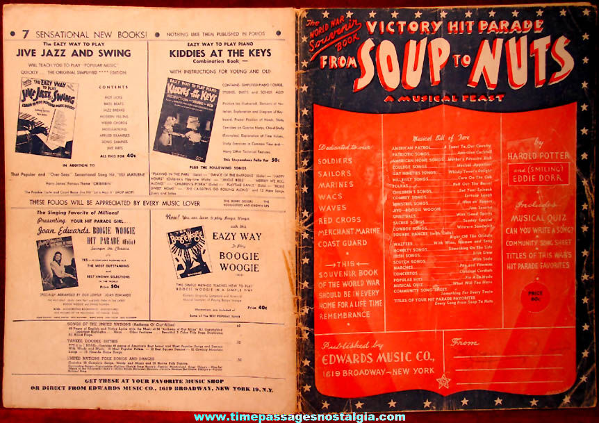 ©1945 Victory Hit Parade From Soup To Nuts Musical Feast World War II Souvenir Song Book